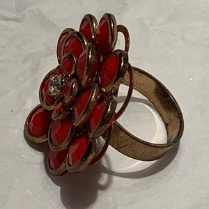 Coral Flower Gold Tone Ring Boho Cocktail Stones 8